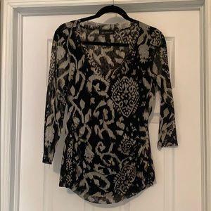 INC xl cream and black blouse
